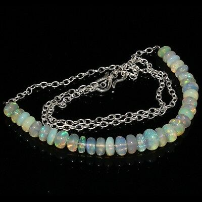 34 Carat Natural Ethiopian Welo Fire Opal Smooth Long Chain Beads Necklace 192