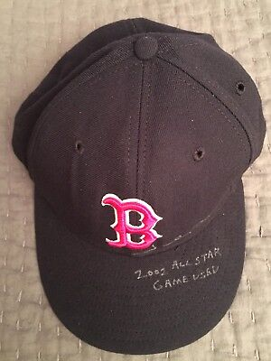 Johnny Damon Game Used Worn Baseball Hat Cap Autograph All Star Boston Red Sox