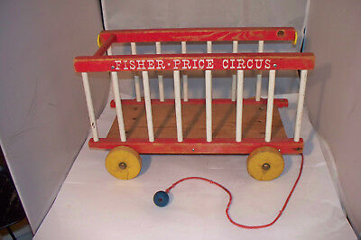 Vintage 1960's Fisher Price CIRCUS WAGON Wooden Pull Toy - parts / restore