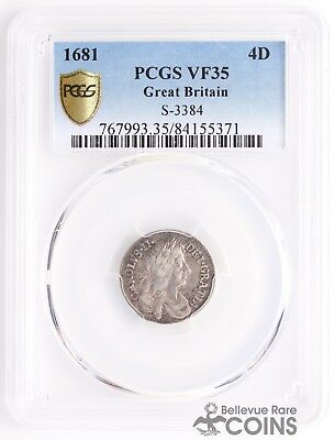 1681 Great Britain Silver 4D (4 Pence Groat) PCGS Graded VF35 (Very Fine) S-3384