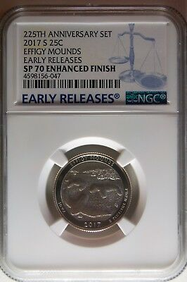 2017 S Enhanced Effigy Mounds Quarter 225th Anniversary NGC SP70 Early Releases
