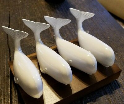 Nautical Sperm Whale Paperweights Set of Four - Heavy Cast Metal with stand