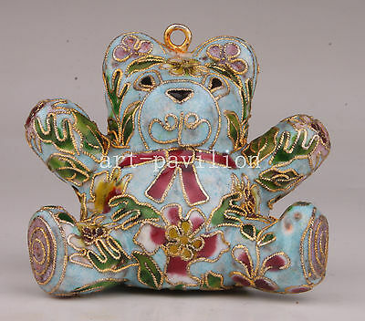 Rare Statue Collection Art Masters Cloisonne Enamel Manually Teddy Bear