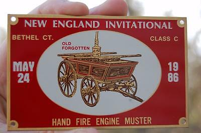 1986  Bethel Ct.Fire Dept  Muster Antique Truck Hand Apparatus Plaque Brass Sign