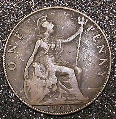 1-Coin from Great Britain.  Penny.  1908.