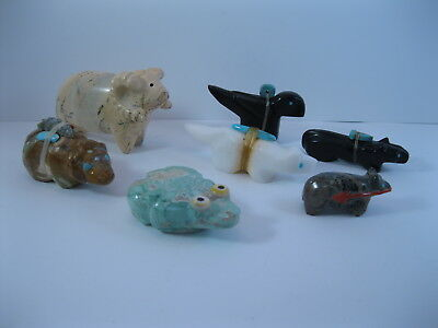 Lot 3 - Collection of 7 Zuni Carved Stone Animal Fetishes some Signed