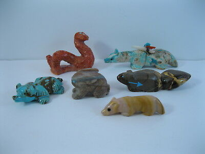 Lot 4 - Collection of 6 Zuni Carved Stone & Coral Animal Fetishes some Signed
