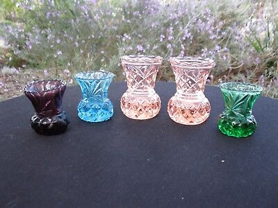 Five Appealing Coloured Vintage Depression Pressed Glass Thistle Posy Vases