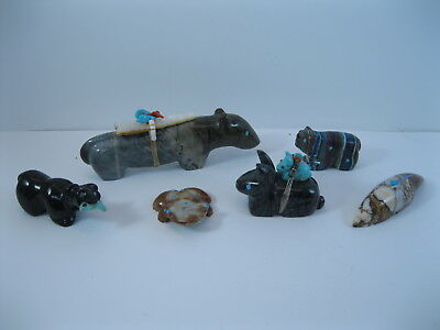 Lot 7 - Collection of 6 Zuni Carved Stone Animal Fetishes some Signed