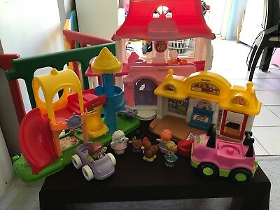Fisher Price Little People Pink House Playground Market Cars Animal People