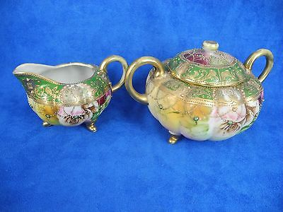 Antique Nippon Porcelain Sugar & Creamer Hand Painted Jeweled Roses Gold
