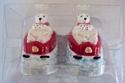 Ceramic Coca Cola Mom Bear & Cubs On Sled Salt & Pepper Shakers - NIB