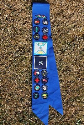 Girl Guide Sash 1960's Has 17 Patches Preowned , Used