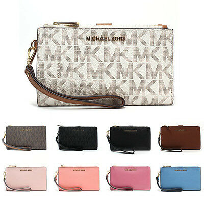 c33e54cc7848 New Michael Kors MK Jet Set Travel Double Zip Phone Wristlet Wallet  35F7GTVW9B