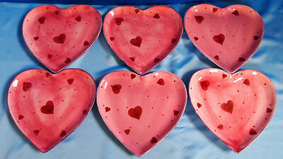 LOT of 6 Laurie Gates Ware  Pink Heart Shaped Plates w/Red Hearts and Blue Trim