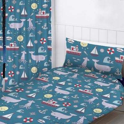 """Nautical Sea Readymade Curtains Childrens Bedroom Blue 54"""" Drop"""