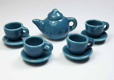 9-Piece Dollhouse Miniature Blue Ceramic Tea Set * Doll Mini Cup Teapot Saucer