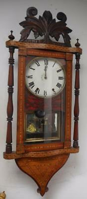 pretty usa walnut inlaid wall clock c1900s
