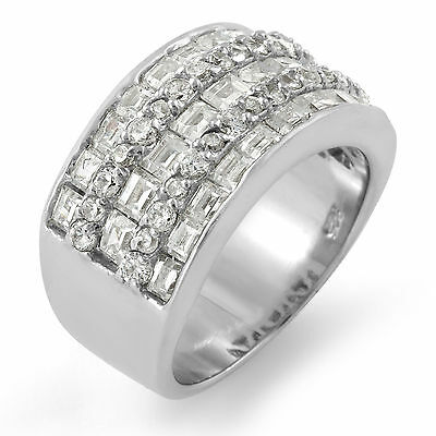 Baguette Round Cubic Zirconia Wedding Anniversary Band Ring Sterling Silver SZ 8
