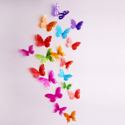 New 18 pcs Romantic 3D Butterfly Cute Multi-Color Home Room Wall Stickers Decors