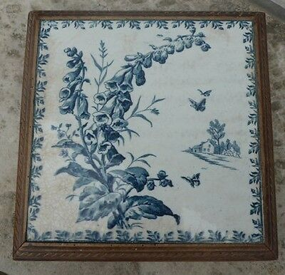 Large Antique Vintage French Ceramic and Wood Trivet ~ Cream with Blue Design