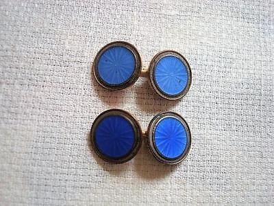 Vintage Krementz Plate Art Deco Blue Guilloche Enamel Double Sided Cuff Links