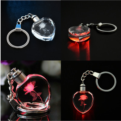 Fairy Crystal Rose Red LED Light Keychain Love Heart Key Chain Ring Keyring New