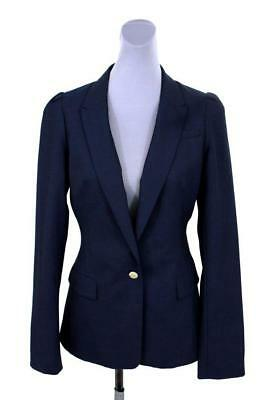 womens navy blue BANANA REPUBLIC blazer jacket gold buttons stretch wool M 10