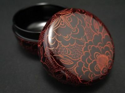 Japanese Traditional Lacquer Wooden Tea Caddy Curved PEONY design Natsume (926)