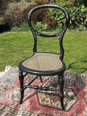 Mother of Pearl inlaid Ebonised Balloon Back Bedroom Chair