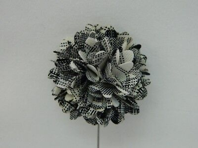 Silver Stemmed Lapel Pin - White/Black
