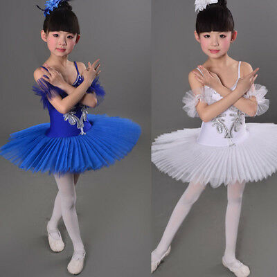 White Swan Lake Pancake Ballroom Ballet Tutu Dancewear Girls Dancing Costumes