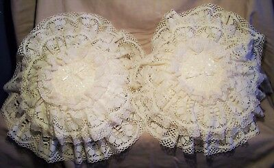 VINTAGE IVORY LACE ROUND CUSHIONS  PILLOWS X2  HAND MADE c1930s