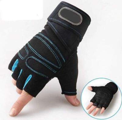 Weight lifting Gym Gloves Training Fitness Wrist Wrap Workout Exercise Sports QE