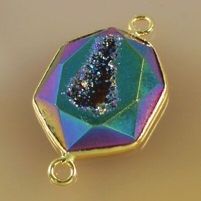 Natural Agate Titanium Druzy Faceted Connector Gold Plated H99293