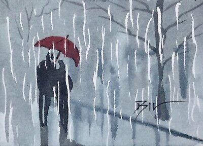 ACEO Original Art Watercolour Painting by Bill Lupton - Shelter from the Rain