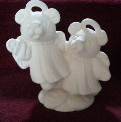 ceramic bisque Teddy Bear Angels. Approx 160 mm High. To Paint or glaze