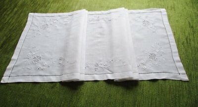 """ANTIQUE TABLE RUNNER-HAND EMBROIDERY-15"""" x 43"""""""