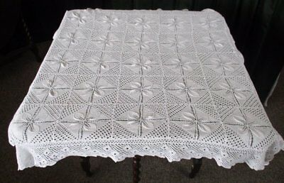 "ANTIQUE TABLECLOTH ALL HAND KNITTED - 34"" sq."
