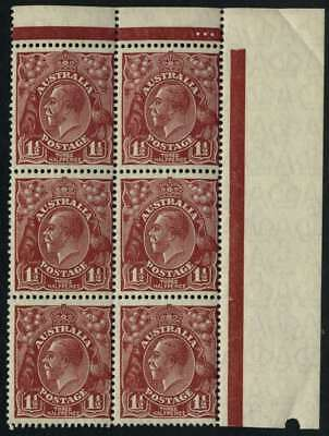 KGV Head SM Wmk Perf 13½ 1½d Red-Brown MUH **PLATE DOT BLOCK** SG 97 #9738