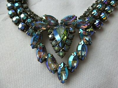 Vintage 50s Blue Aurora Borealis Rhinestone Necklace Heart Shape & Drop Earrings