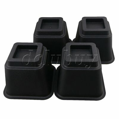 4x Regular Prismoid Black Add Height Bed Furniture Risers Lifts 5.9""