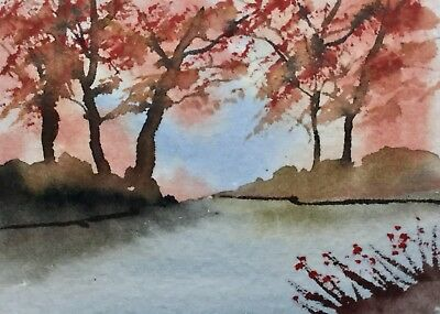 ACEO Original Art Watercolour Painting by Bill Lupton - Trees by a Lake