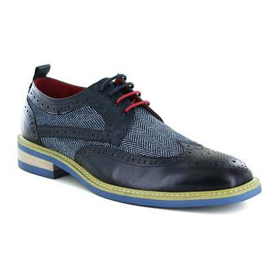 Justin Reece Aiden Mens Leather And Tweed 4-Eyelet Brogue Shoes - Navy And White