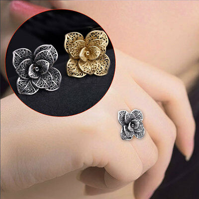 Retro Ladies Flower Rings Fashion Adjustable Hollow  Wedding Ring Party Jewelry