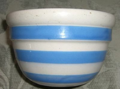 Antique BAKEWELLS Blue Striped Pottery Mixing Bowl/Made in Sydney Australia/1930