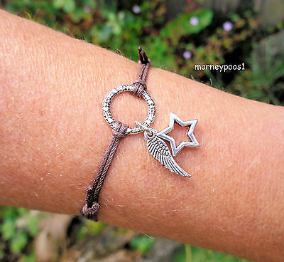 Blessed Be Brown Cord Bracelet Angel Wing Star Karma Ring Pagan Wicca Good Luck