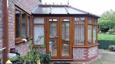 Good Condition Conservatory Light Oak wood grain UPVC Victorian Design w/ Blinds