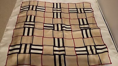 "Burberry 100% Silk Check Handkerchief Scarf, Pocket Square, (18.5""), Pre-Owned"