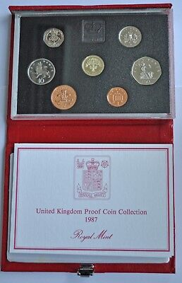 UK PROOF 7 COIN YEAR SET, 1987, £1 T0 1p, WITH COA, IN DELUXE RED LEATHER CASE